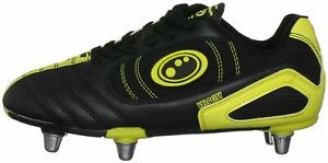 Optimum Velocity Mens Rugby Boots Black Yellow SG