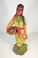 "Vintage Native American Woman Baby Chalkware Statue 15"" Indian Art Pottery Ohio"