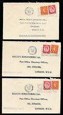 GB 1958 POSTMARK GREETINGS TELEGRAMS SLOGAN...KELLYS DIRECTORIES PERFINS 3 ITEMS