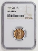 Small Cents Lincoln, Wheat Ears Reverse 1909 VDB NGC MS-66 RD