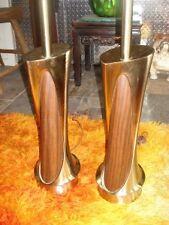 PAIR SCULPTURAL LAUREL LAMPS BRASS/WOOD MID-CENTURY MOD
