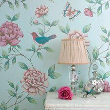 Pale Mint Blue Vintage Bird Print Wallpaper Graham Flower & Birds Wallpaper 10m