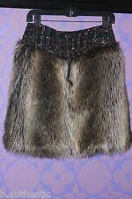 CHANEL F/W10 Faux Fur Skirt CC Logo Fantasy Tweed 38 Sm MOST WANTED *Runway* $4k
