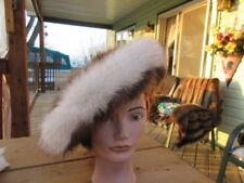 "#1Y unisex beret beanie beaver & fox fur hat  white + brown fit size 23"" 24"" in"
