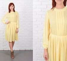 Vintage 70s Yellow Mod Dress Accordion Pleated Full long sleeve Small S
