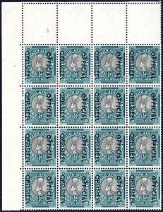 South Africa Official 1950-4 ½d black & green, corner block of 16, SG.O39, UM