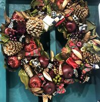 "Mackenzie Childs 26"" Estate Collection Holiday Wreath PLEASE SEE DESCRIPTION"