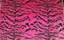 DESIGNER ITALIAN TIGRESA TIGER TIGRE STRIE SILK VELVET FABRIC 3 YARDS PINK BLACK