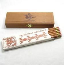 Vintage Blackfeet Indian No 2 Pencil Dozen With Wooden Case Box Wood Chest Horse