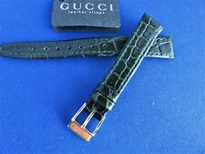 Original Oem Gucci Green Croc Leather Watch Strap & Gold/Plate Buckle 12Mm New