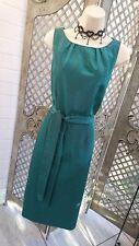 🌹ALEXON🌹EMERALD GREEN SATIN RIBBED WIGGLE PENCIL COCKTAIL DRESS UK 12 PARTY