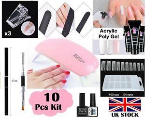 Poly gel Nail Kit DIY 10 PCS SET Poly Builder Acrylic Art UV Lamp Glue Extension