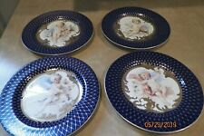 "Fitz & Floyd ""Les Anges"" 4 Plates Navy Blue and Gold with Cherubs Angels"