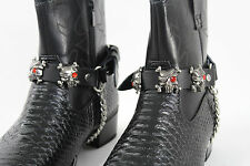 Biker Shoe A Pair Boots Bracelets Chain Black Leather 2 Straps Skull Skeleton