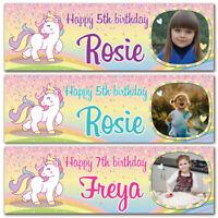 2 Personalised Birthday Banner Photo Unicorn Rainbow Children Girls Party Poster