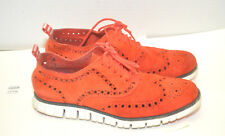 COLE HAAN Men's Zerogrand Wingtip Oxford Suede Lace up Shoes Sz 7 Red / Maroon