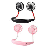 USB Rechargeable Neck Band Fan Sports Outdoor Halter Air Cooler Ventilator R1BO