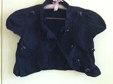 Black cotton shrug vintage Jet style buttons 14 ruffle front burlesque Biker