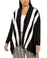 Alfani Women's 3x Plus Size Striped Open-Front Cardigan Sweater, Black, $76, NwT
