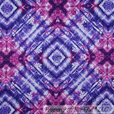 BonEful Fabric FQ Cotton Quilt Purple Pink Tie Dye Retro Hippie Groovy Girl 2004