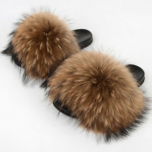 Women's Real Raccoon Fur Slides Max Large XXL Furry Slipper Indoor Outdoor Shoes