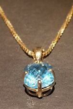 12 inch 14k Yellow Gold  Oval Blue Topaz Pendant with Necklace