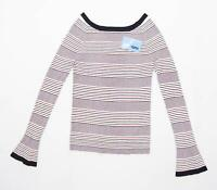 Next Womens Size 10 Striped Multi-Coloured Top (Regular)