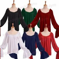 Vintage Medieval Women Pirate Blouse Off Shoulder Peasant Chemise Wench Shirt