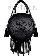 Restyle Dream Catcher Black Embroidery Handbag Purse Fringe Native Symbols Goth