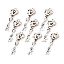 Buddly Crafts Silver Tone Metal Charms - 9pcs Heart Keys 15mm x 41mm