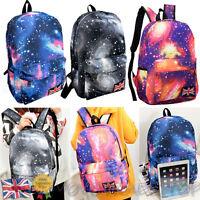 Ladies Girls Boys Large Canvas Backpack Leisure Travel School Shoulder Bags New