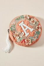 "Anna Harlow x Anthropologie Russo Beaded Embroidered Monogram ""A""  Round Pouch"