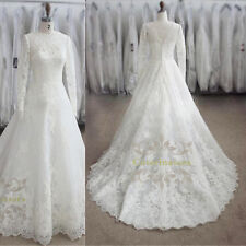 French Lace Jewel A line Wedding Dress High Collar Long Sleeves Bridal Gown