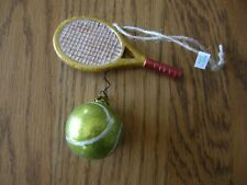 Pottery Barn Blown Glass Tennis Racket and Tennis Ball Christmas Ornament-New