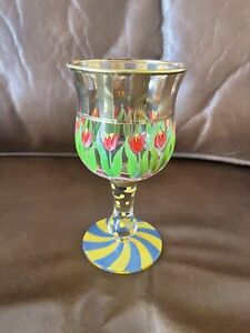 """Authentic Mackenzie-Childs 6.5"""" Wine Water Goblet Glass with Tulips Design"""