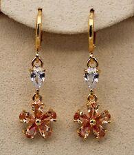 18K Yellow Gold Filled- 1.3'' Clover Morganite Topaz Zircon Gems Dangle Earrings