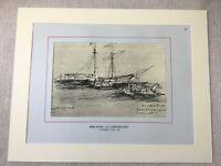 Vintage Print Brigantine Ship Shipbuilding Sailing Maritime Art Drawing