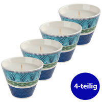 VILLEROY & BOCH 4er Set Teelichthalter mit Kerze Porzellan Casale Blu limitiert