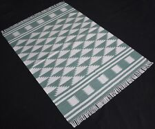 Hand Woven Anatolia Fine Cotton Green Color Area Rug 3x5 Feet