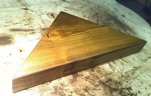 CORNER SHELF - Vintage style Solid Chunky Wood - DARK OAK - MEDIUM 30cm