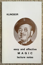Vintage 1971 Easy and Effective Magic Lecture Notes By Ci Klingsor