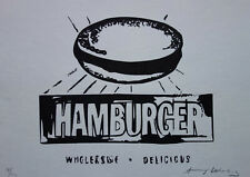 Fine Pop Art Limited edition silkscreen serigraph, hamburger, signed Andy Warhol