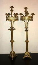 Paire d'ancienne torchère d'église en bronze 5 feux candélabres bougeoirs XIX