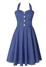 Vintage Retro 50's Polka Dot Button Halter Women's Swing Dress Royal Blue