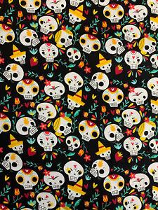 10 Metres Black Candy Skulls School Of Skulls Printed 100% Cotton Poplin Fabric