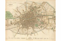 Dublin, Ireland; Antique Map; Vintage Cartography 1836