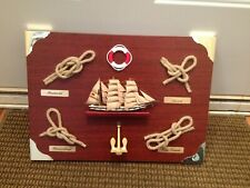 Maritime Nautical Knots Wood Display With Ship Anchor & Life Preserver Ring