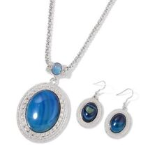 Blue Agate Pendant with Chain (Size 22 with 2 inch Extender) and Hook Earrings i