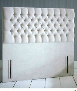 "54"" inch Floor Standing Top Design Headboard in Chenille Fabric with Diamonds"
