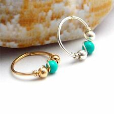 2Pcs Stainless Steel Turquoise Nose Ring Hoop Helix Cartilage Piercing Jewelry